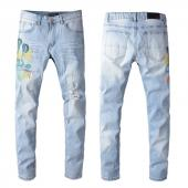 amiri denim jeans skinny-fit distressed stretch snake blue