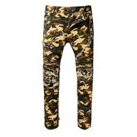 balmain slim-fit biker jeans fashion army camouflage