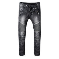 balmain slim-fit biker jeans fashion gris carbone