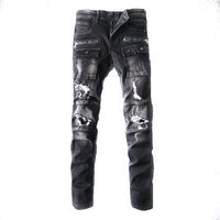 balmain slim-fit biker jeans fashion black hole