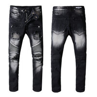 balmain slim-fit biker jeans fashion black white