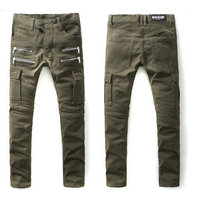 balmain slim-fit biker jeans fashion green