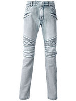 balmain slim-fit biker jeans fashion grid