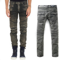 balmain slim-fit biker jeans fashion gris
