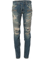 balmain slim-fit biker jeans fashion hole blue