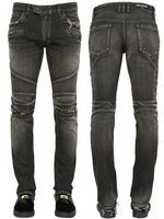 balmain slim-fit biker jeans fashion hole gray