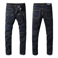 balmain slim-fit biker jeans fashion mode blue