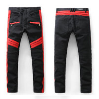 balmain slim-fit biker jeans fashion red black