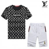 manche courte Tracksuit louis vuitton tracksuit superme et lv black white