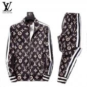men sportswear louis vuitton tracksuits Tracksuit stand collar classic printing lv brown