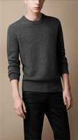 new style pull burberry hiver populaire burberry sweater simple col rond gris