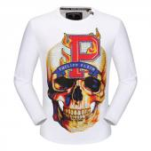 round neck sweaters philipp plein mens designer big fire skull white
