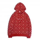 supreme hoodie man women sweatshirt pas cher louis vuitton embroide rouge logo