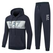 new emporio armani Tracksuit hoodie center logo navy blue