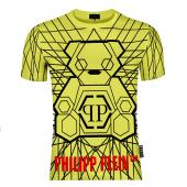 philipp plein t shirt homme outlet rhinestone yellow