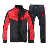 Tracksuit polo sport windproof v-rouge